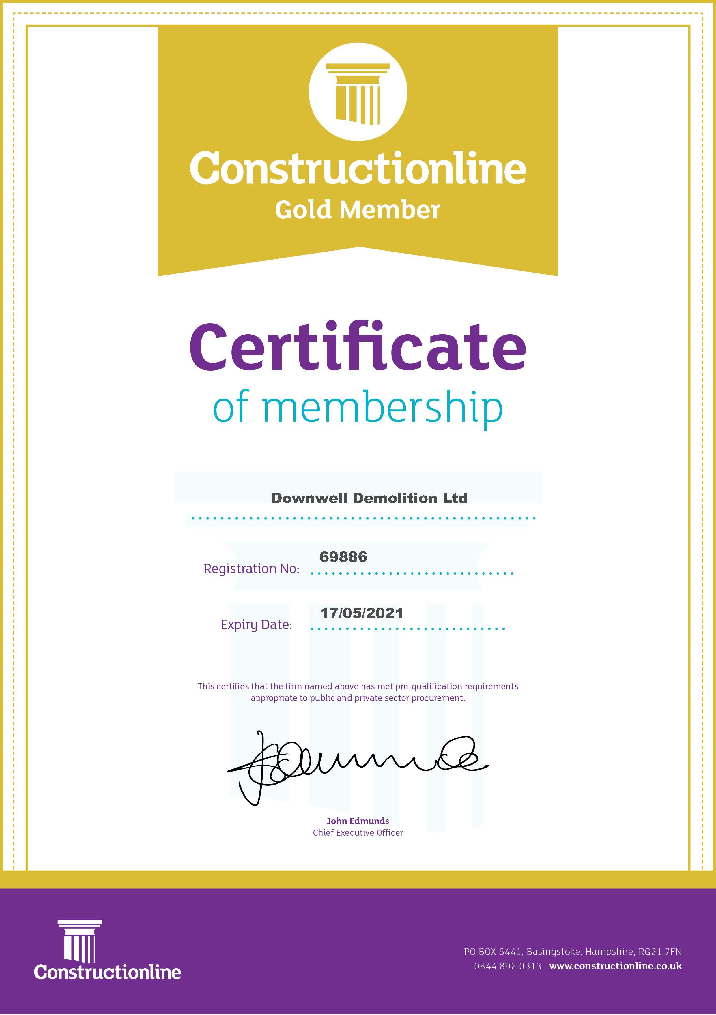 Constructionline Gold Certificate
