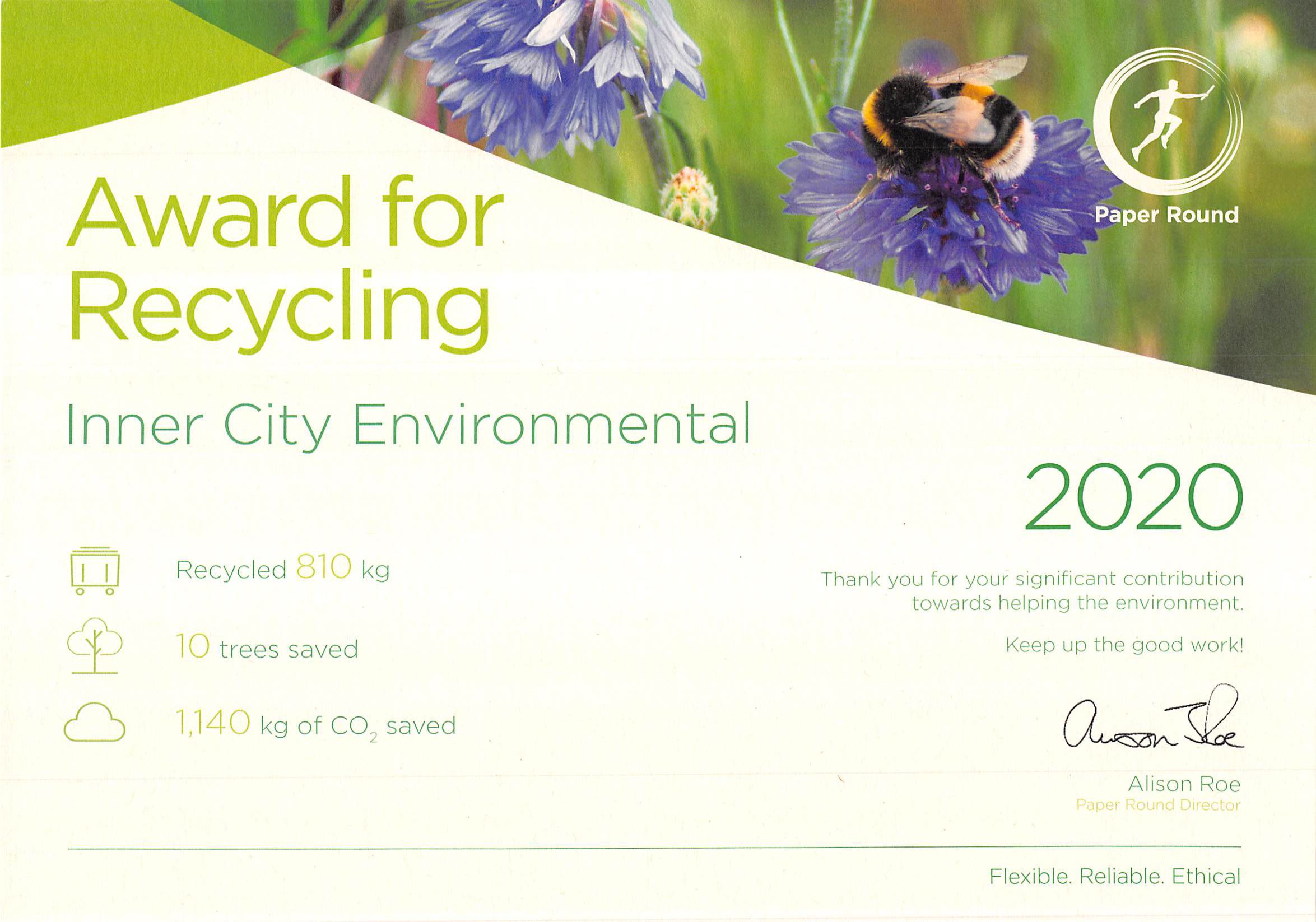 Recycling Certificate